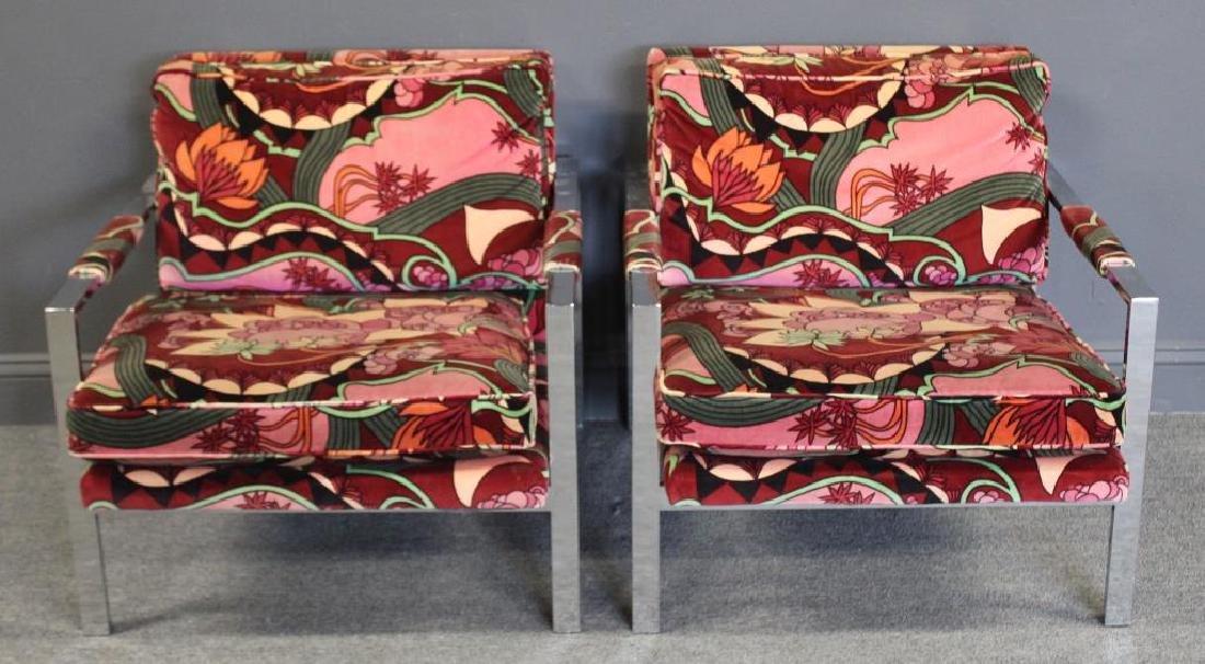 MIDCENTURY. Pair of Milo Baughman Chrome Armchairs