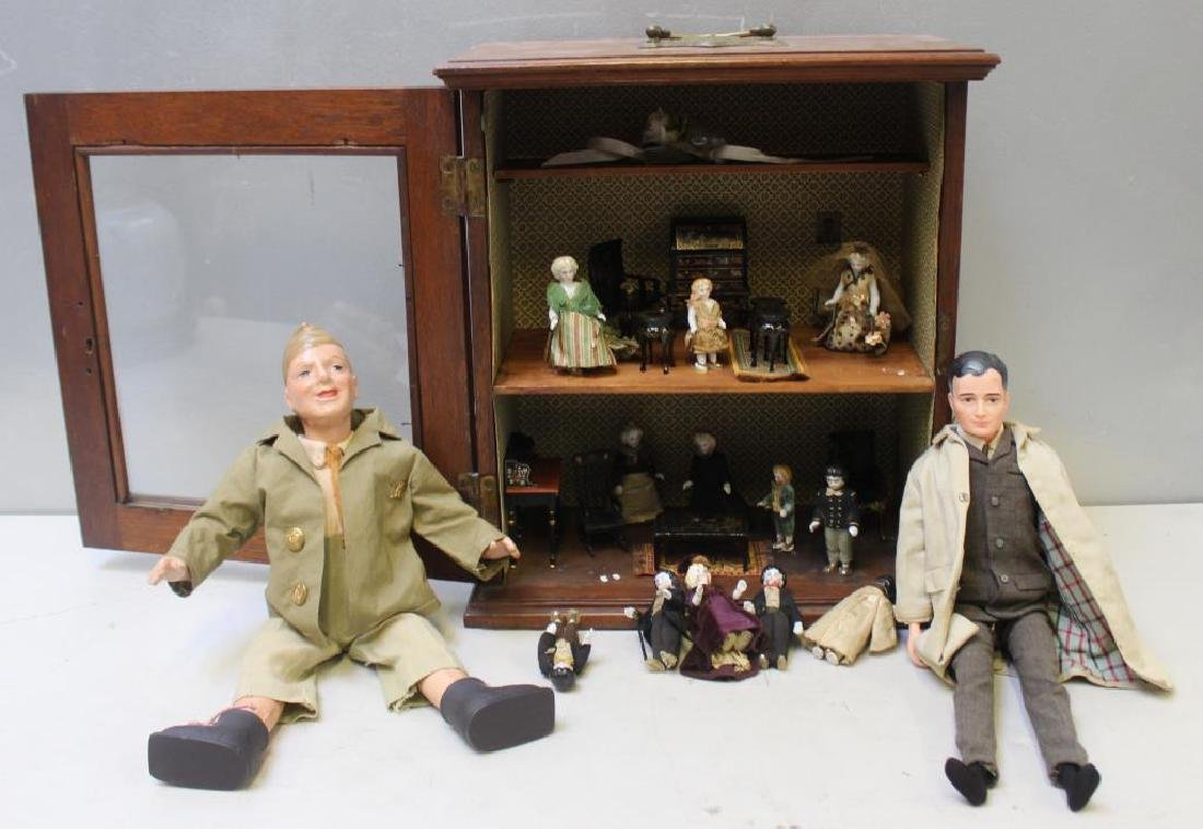 Antique Diorama Together With 2 Vintage Dolls .