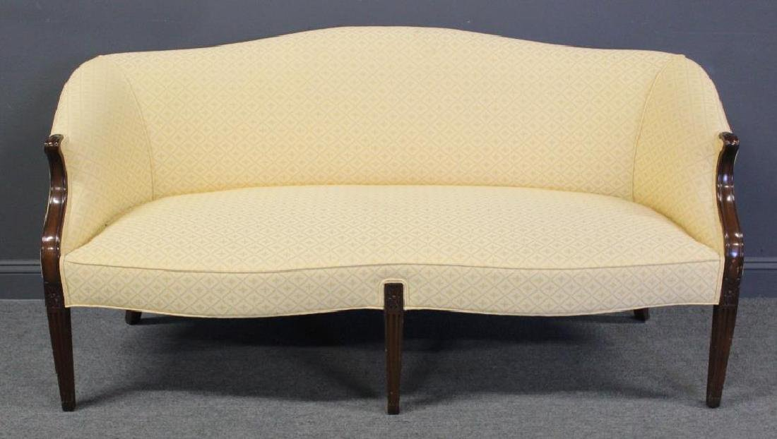 Sheraton Style Upholstered Settee.