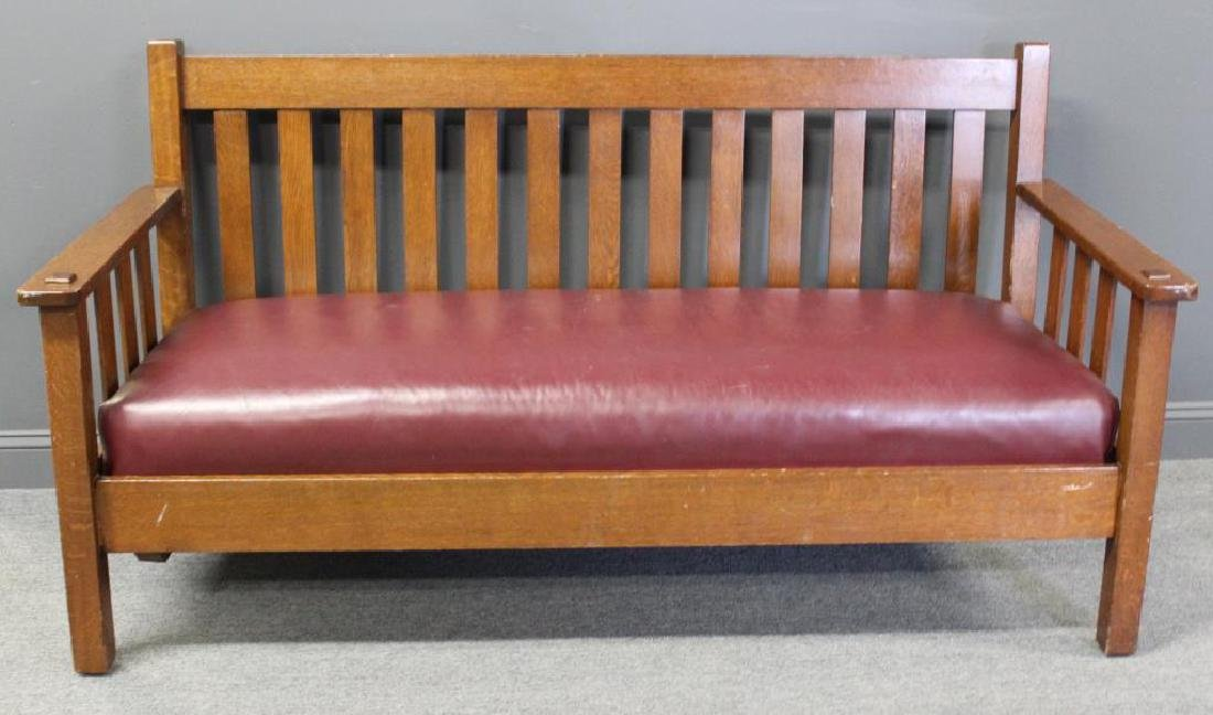 Stickley Brothers Oak Drop Arm Settle with Slatted
