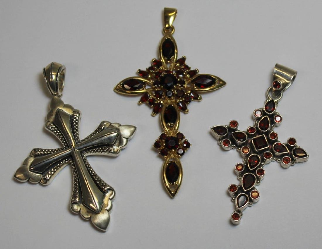 JEWELRY. Grouping of 18kt Gold and Sterling Cross