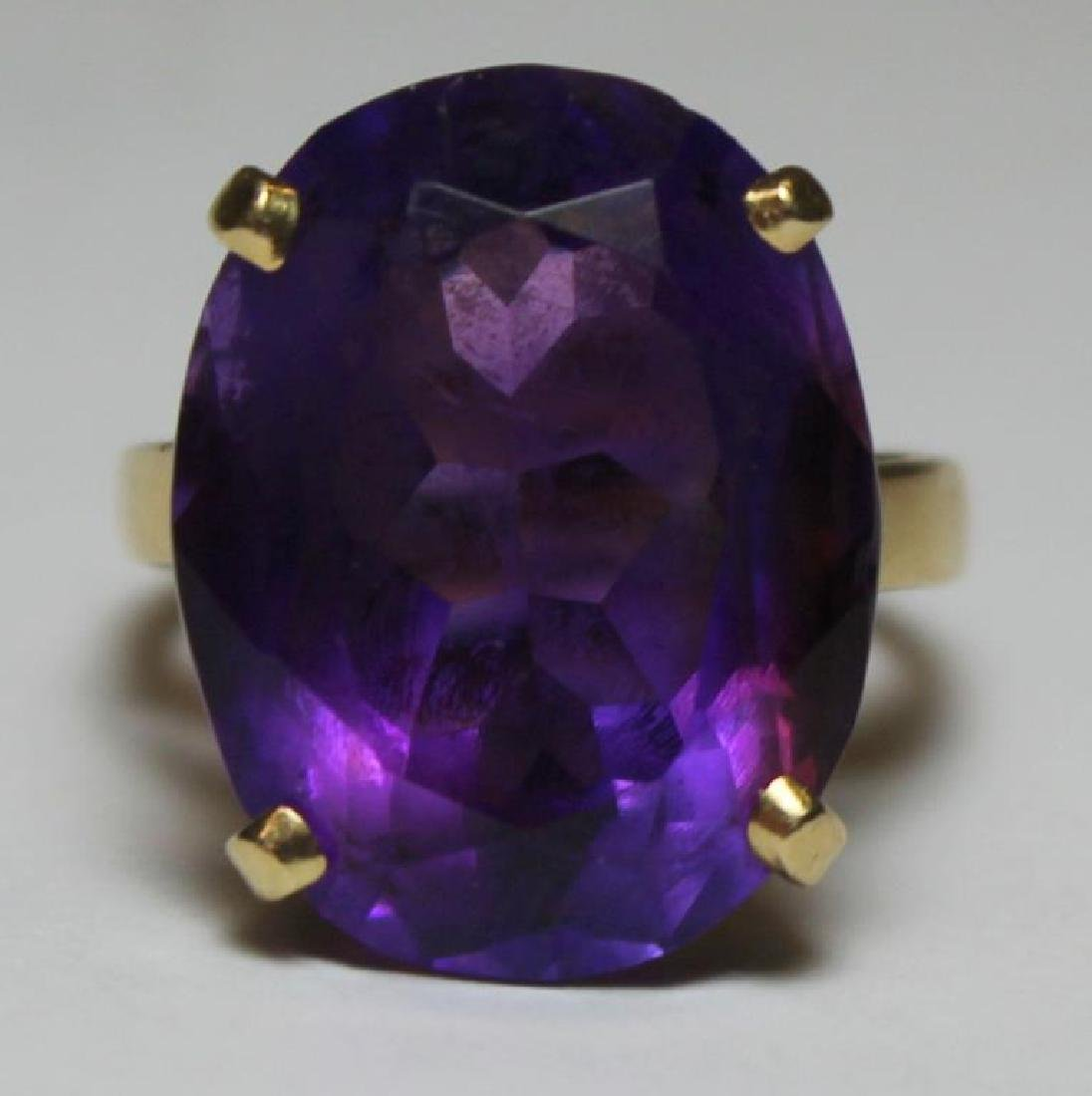 JEWELRY. 14kt Gold and Amethyst Cocktail Ring.