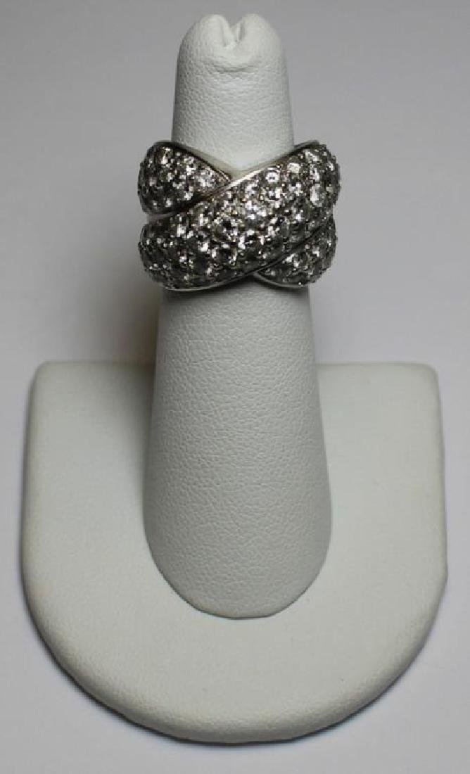 JEWELRY. 18kt Gold and Pave Diamond X-Form Ring.