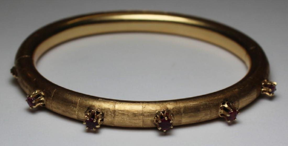 JEWELRY. 14kt Gold and Ruby Bracelet.