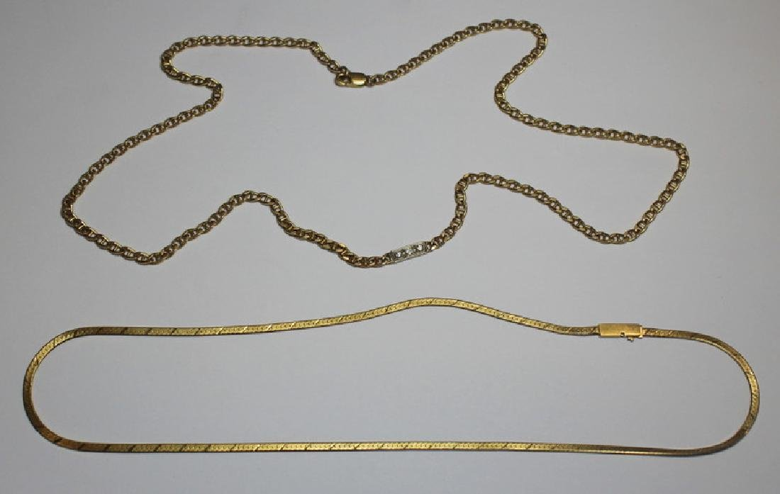 JEWELRY. 14kt Gold and Diamond Chain Grouping.