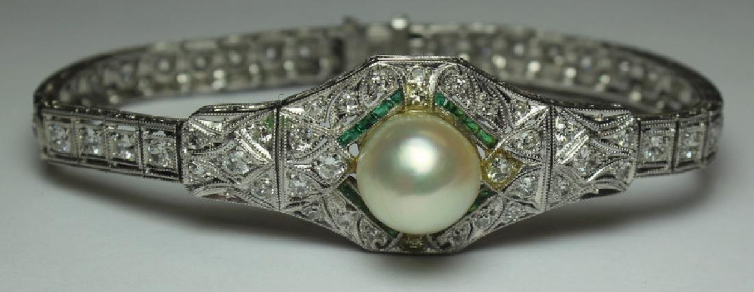 JEWELRY. Antique Platinum, Diamond, Emerald, and