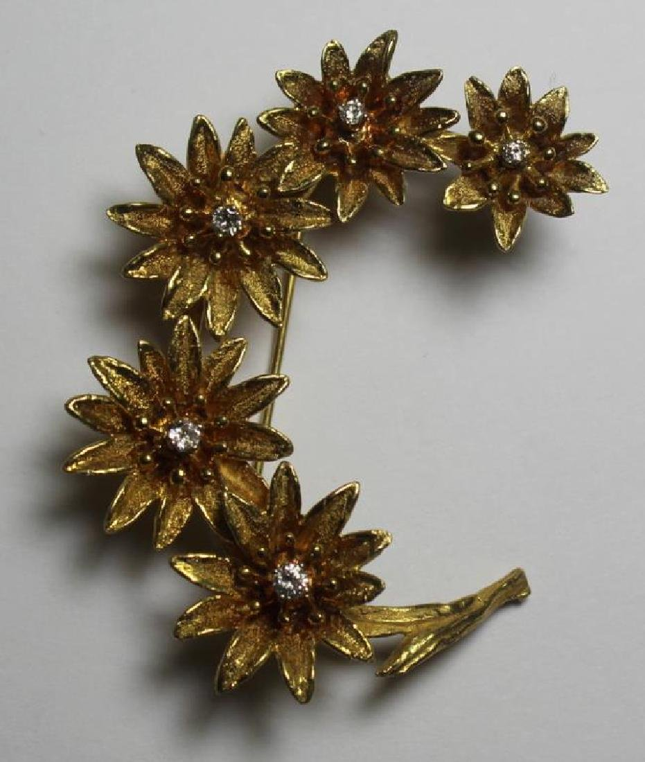 JEWELRY. Signed 14kt Gold & Diamond Floral Brooch.