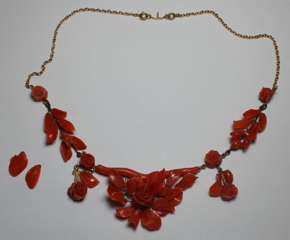 JEWELRY. Victorian Carved Coral and 14kt Gold