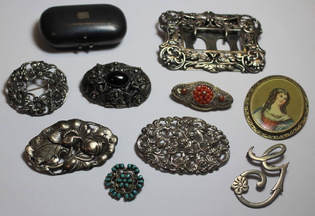 SILVER. Antique and Vintage Brooch and Accessory