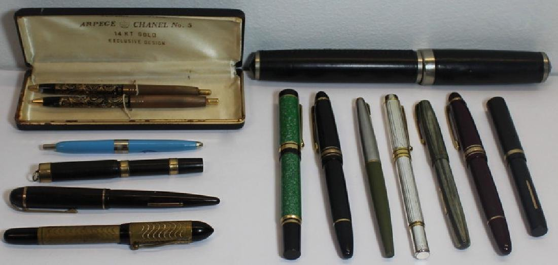 Grouping of Vintage Fountain and Ball Point Pens.