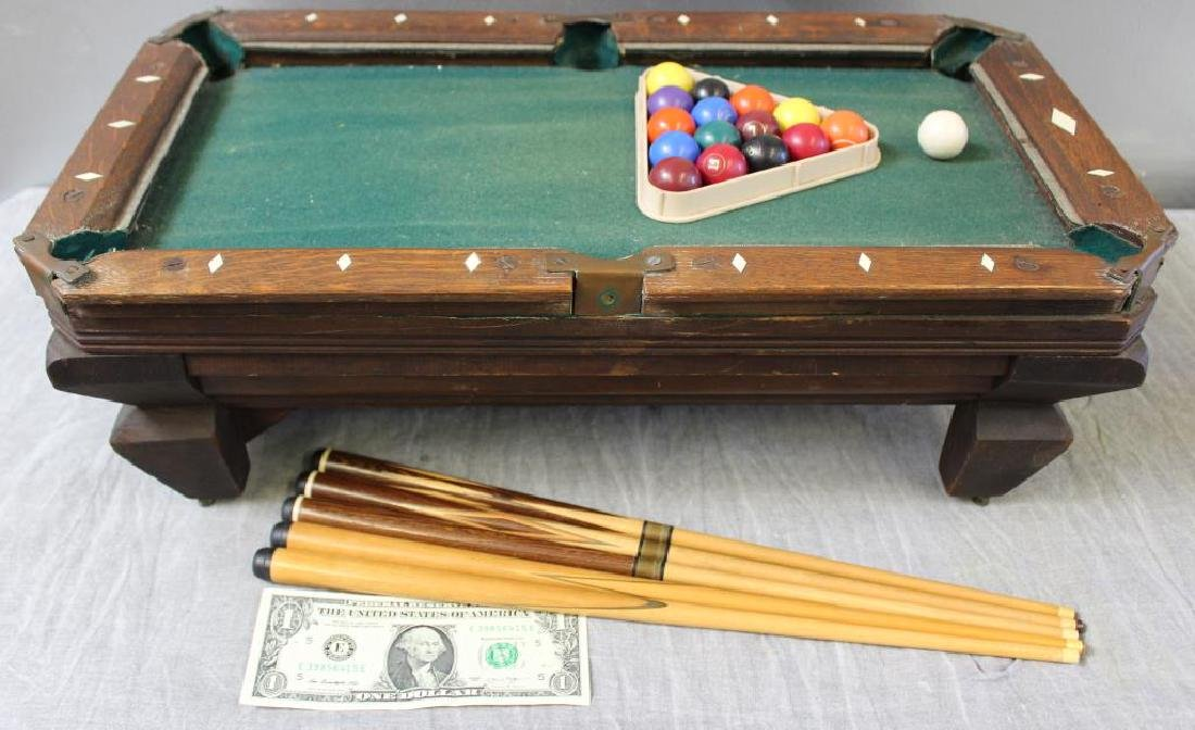Salesman's Sample Miniature Pool Table with 5