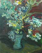 DAY, T. Oil on Canvas. Still Life with Flowers.
