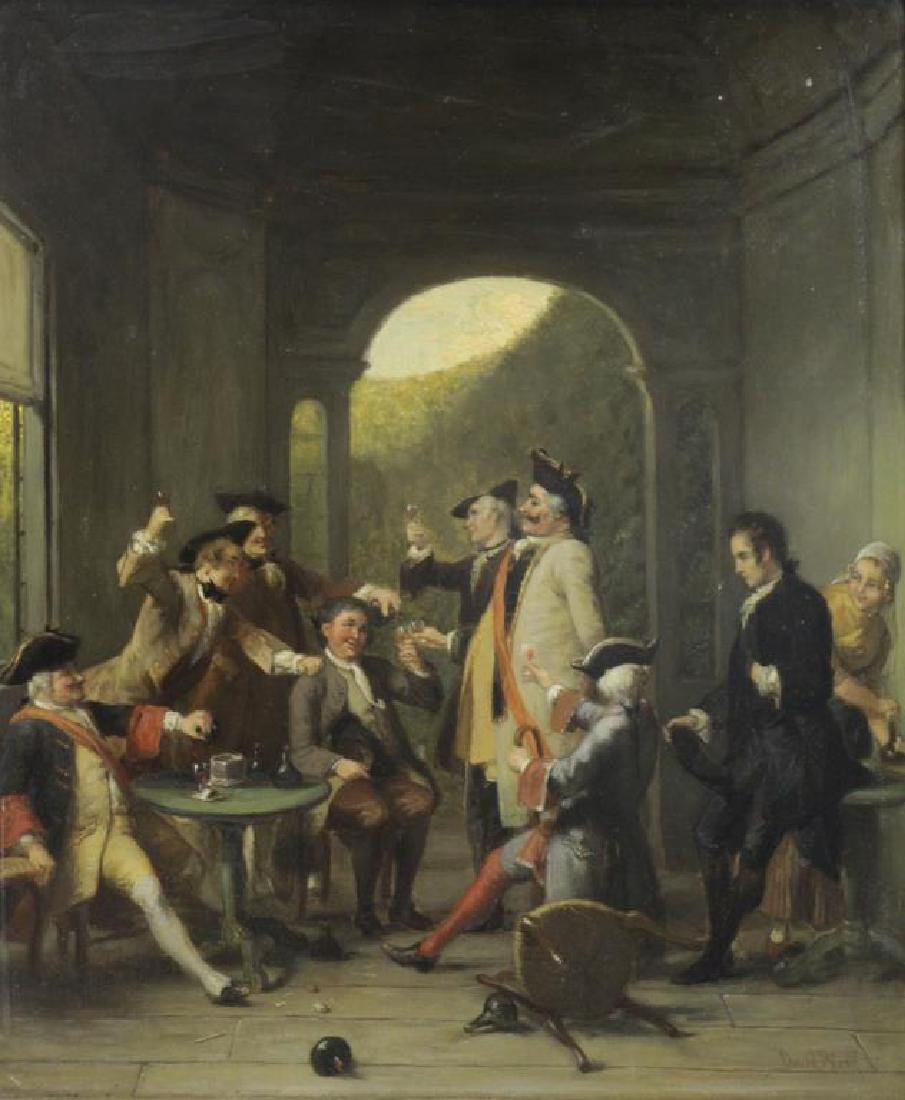 BLES, David Joseph. Oil on Panel. Tavern Scene.