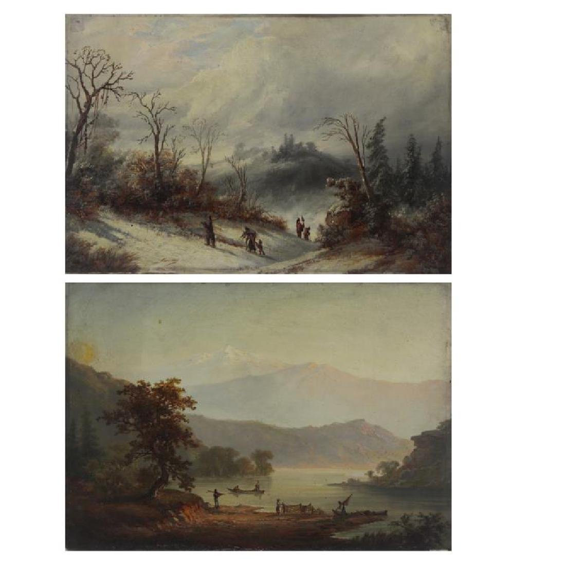 LOEMANS, Alexander. Two Oil on Board Landscapes.
