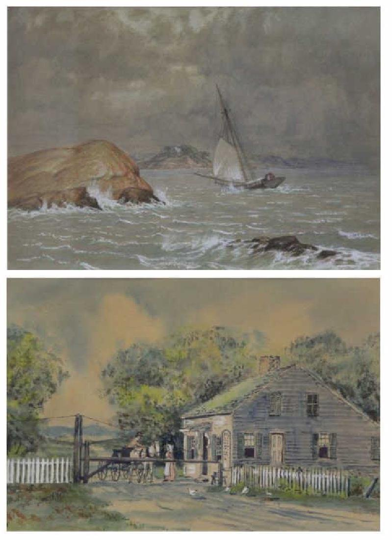 CANDEE, George & WAITE, Thomas. Two Watercolors