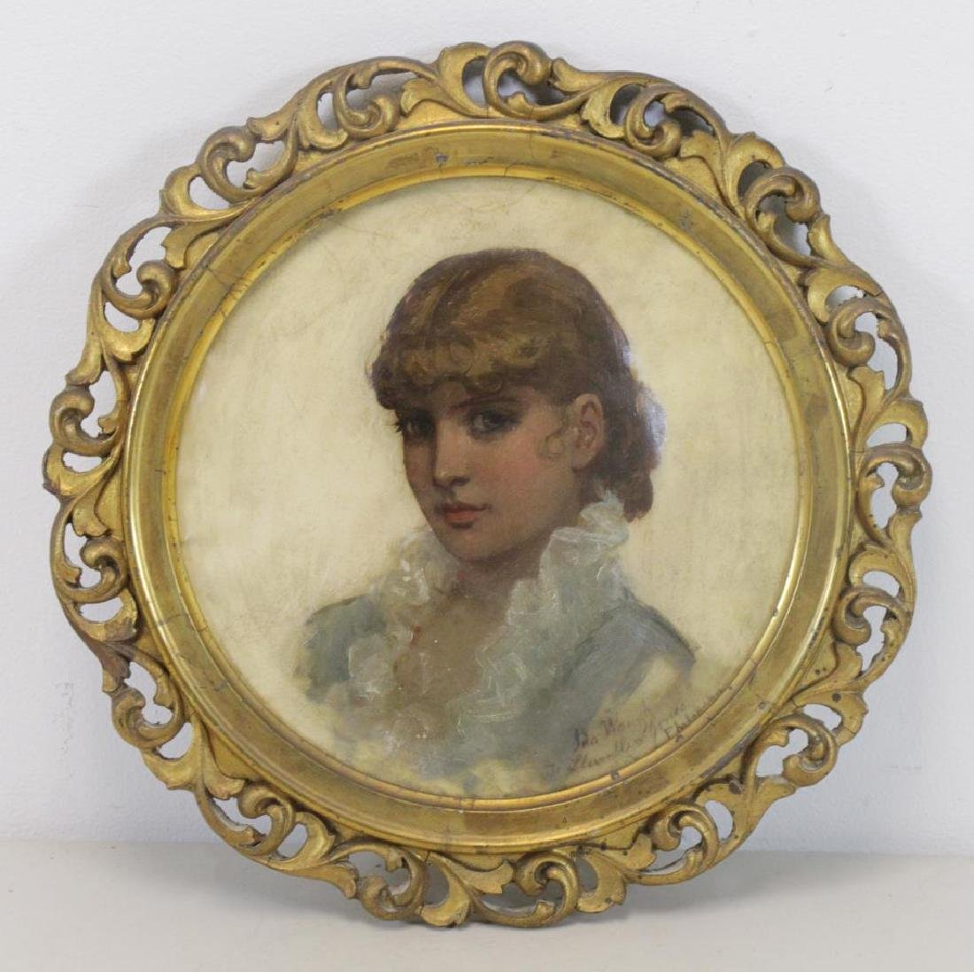WAUGH, Ida. Oil on Vellum. Portrait of a Young