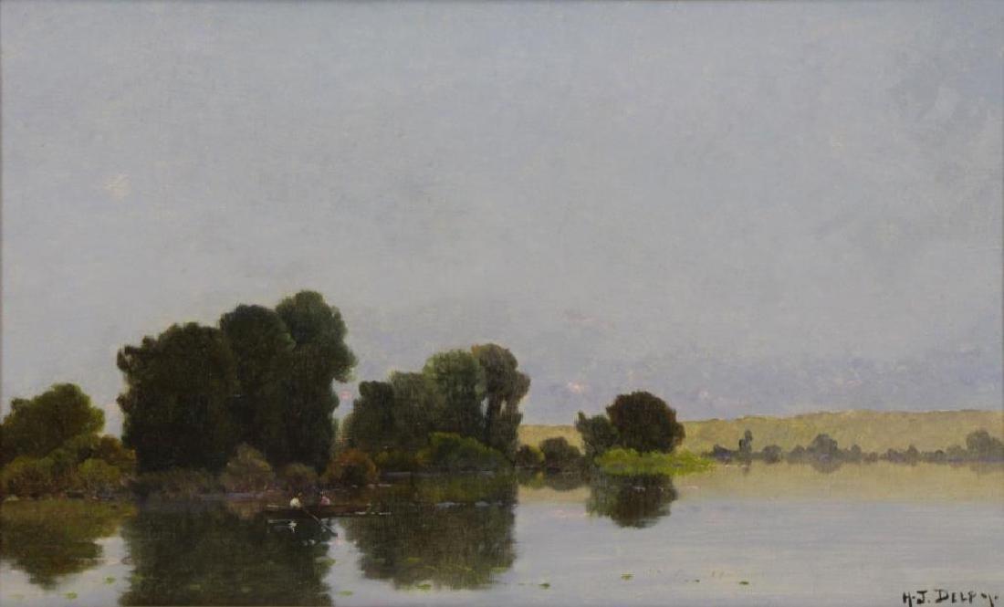 """DELPY, Jacques Henri. Oil on Canvas. """"Bord De"""