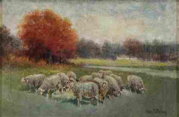 PHELAN, Charles. Oil on Canvas. Sheep at Pasture.