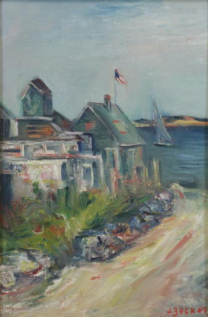 ZUCKER, Jacques. Oil on Canvas. Coastal Village