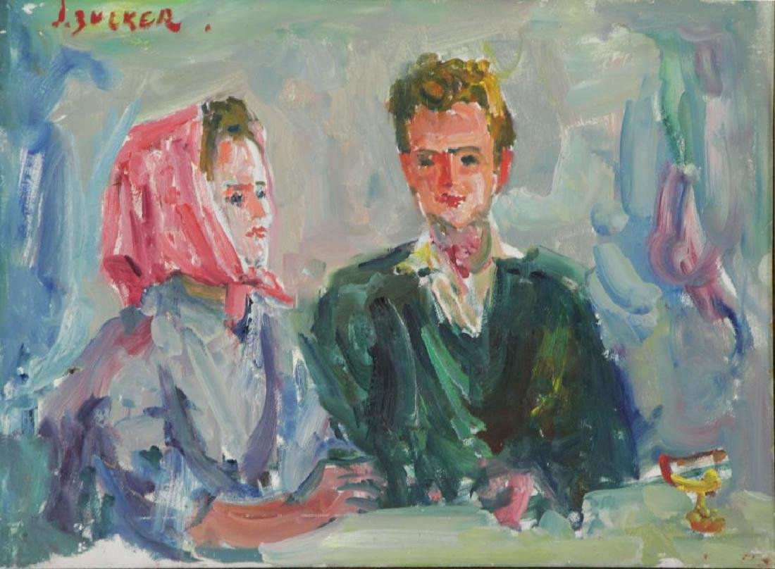 ZUCKER, Jacques. Oil on Panel. Seated Couple.