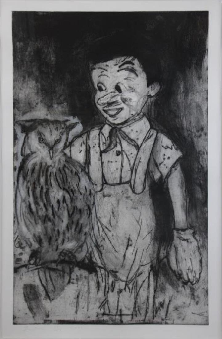 """DINE, Jim. """"Boy and Owl"""" Etching & Collograph with"""