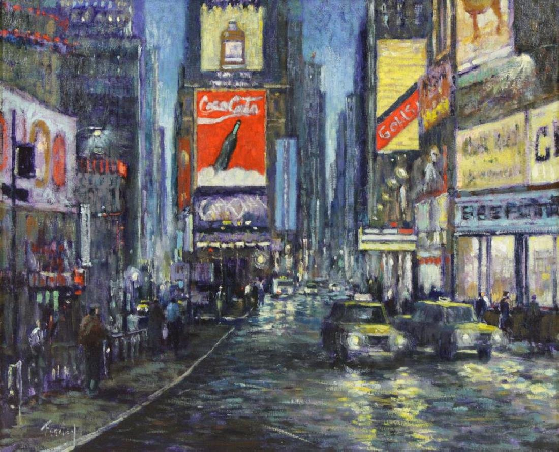 FEENEY, Loretta. Oil on Canvas. Times Square at