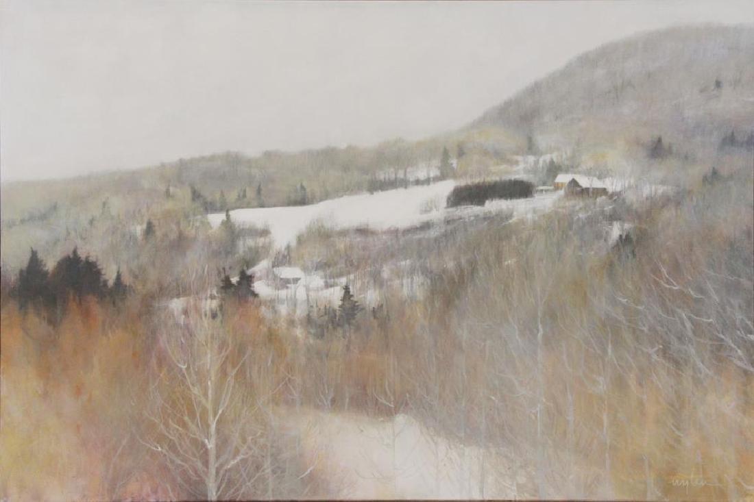 "WYLIN, Barbara. Acrylic on Canvas. ""Mountain Farm"