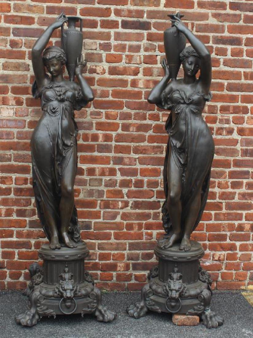 Pair of Antique Patinated Cast Iron Life Size