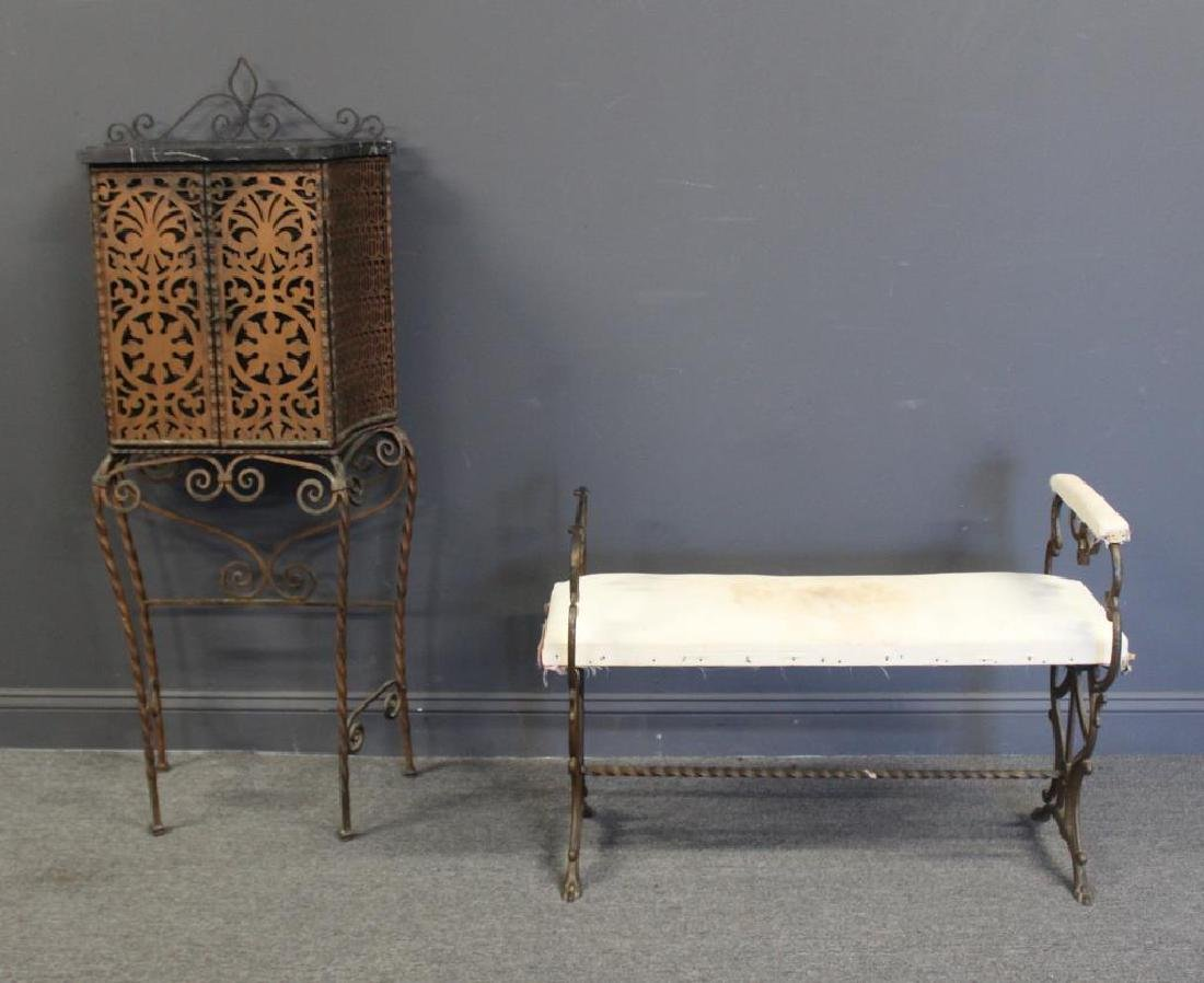 Art Deco Iron Telephone Stand and a Bench In The