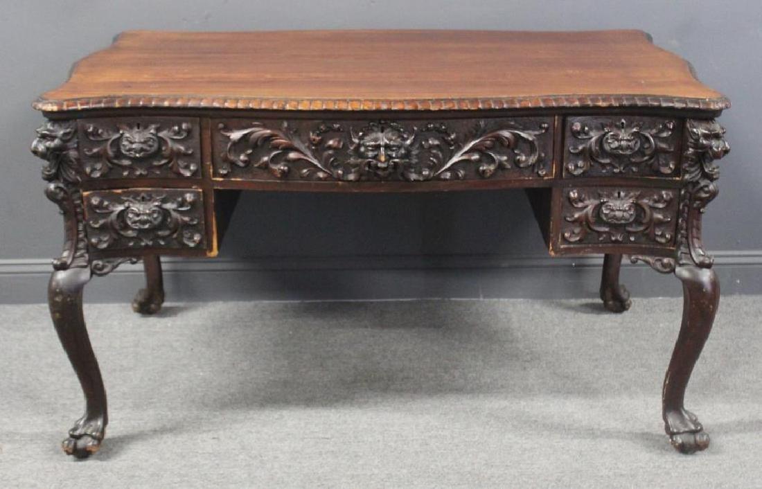 HORNER. Signed Highly Carved Mahogany