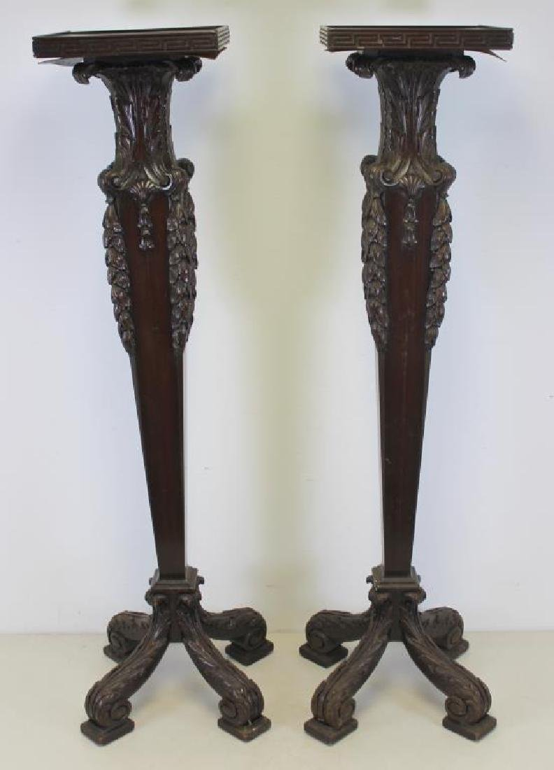 Pair of Finely Carved Mahogany Pedestals.