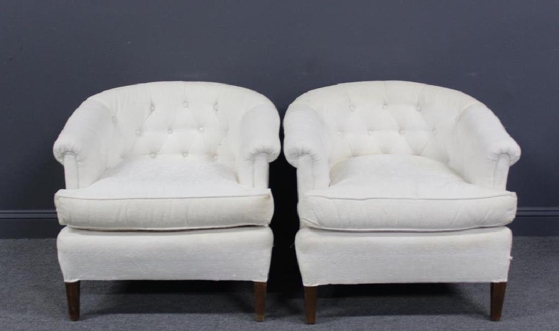MIDCENTURY. Style Pair of Upholstered Club Chairs.