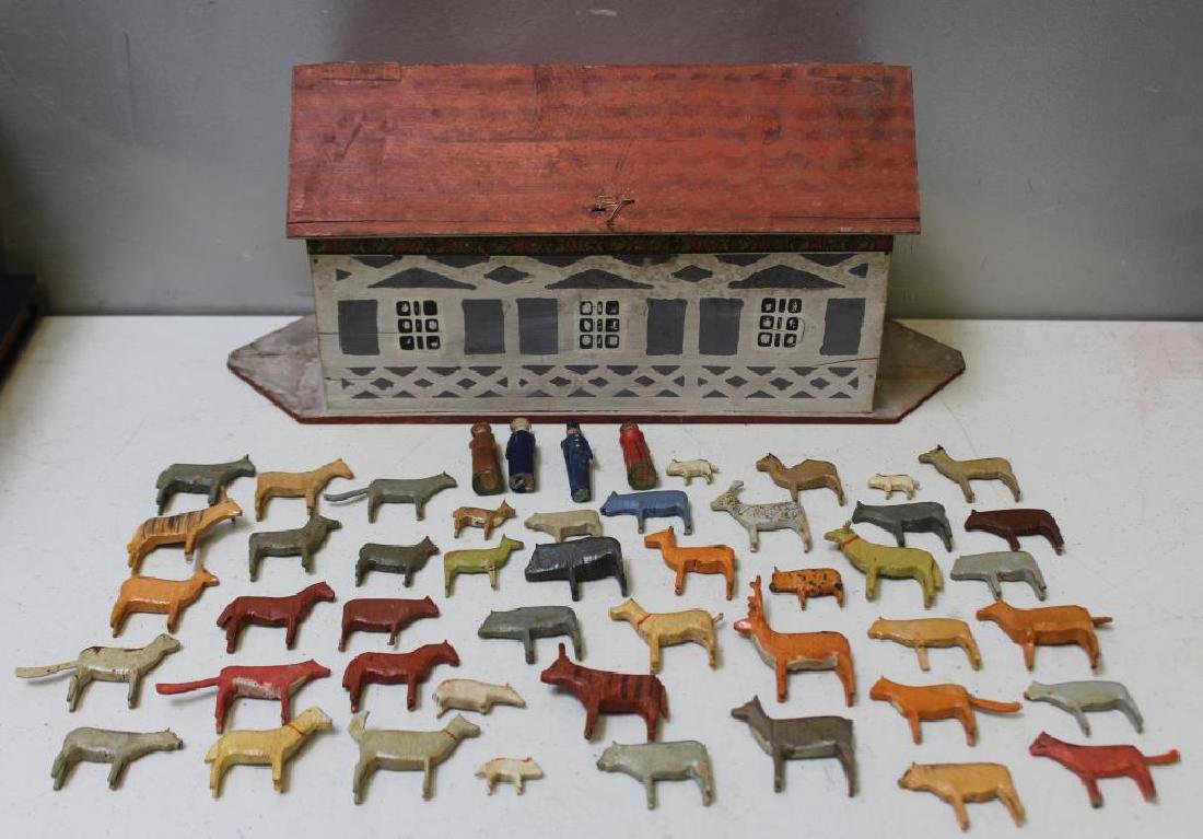 Antique German Noah's Ark Sunday Toy With Figures