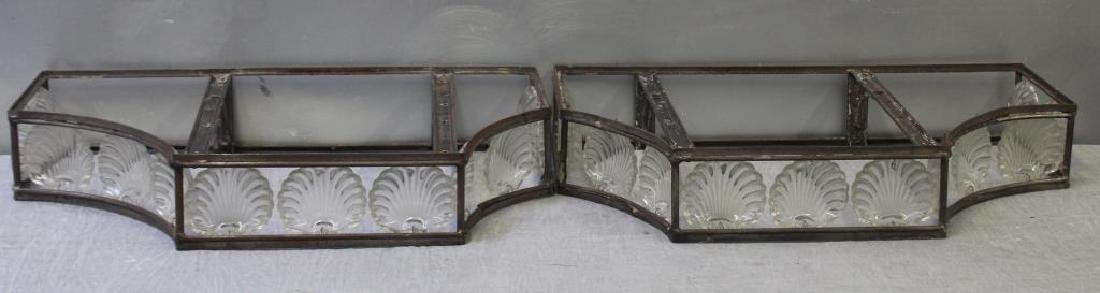 Pair of Art Deco Iron Consoles with Glass Shell