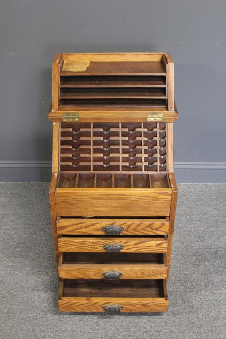 Victorian Oak Portable Cash and Ticket Holder.