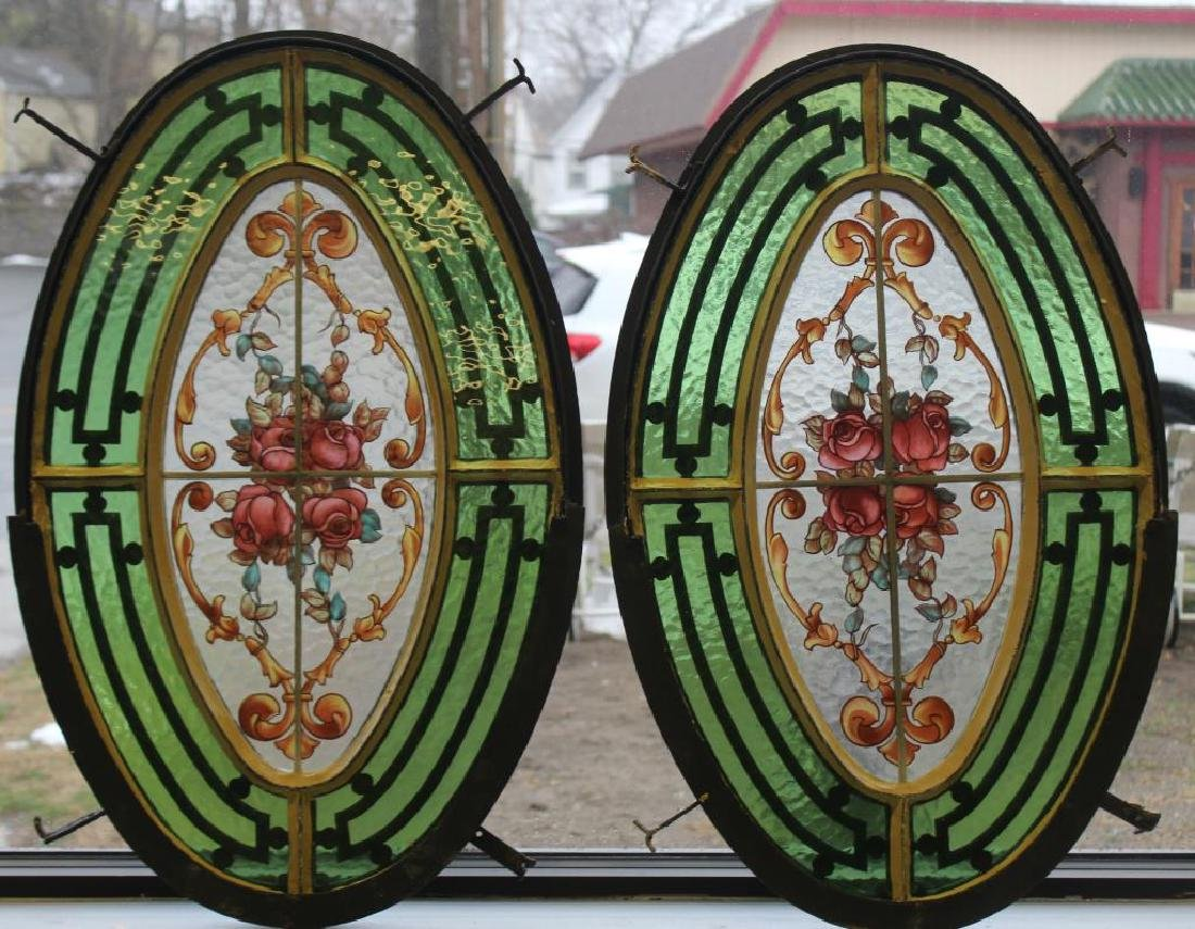 Pair of Art Deco Oval Iron Porthole Stained Glass