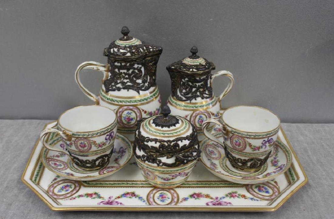 Sevres Porcelain Demitasse Set With Silver