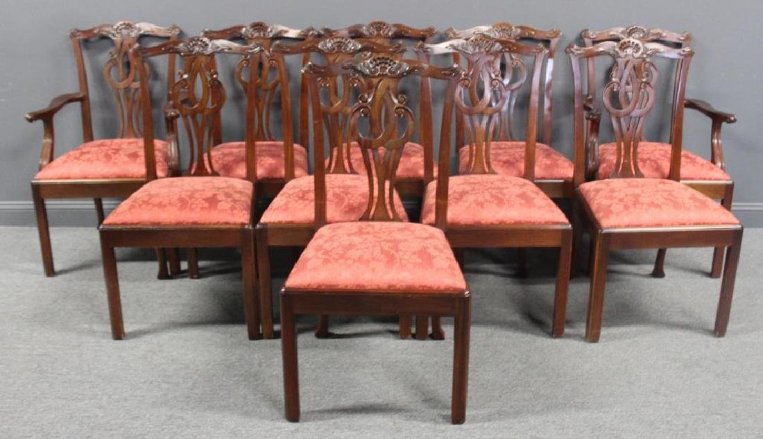 BAKER, Signed Set of 10 Mahogany Dining Chairs.