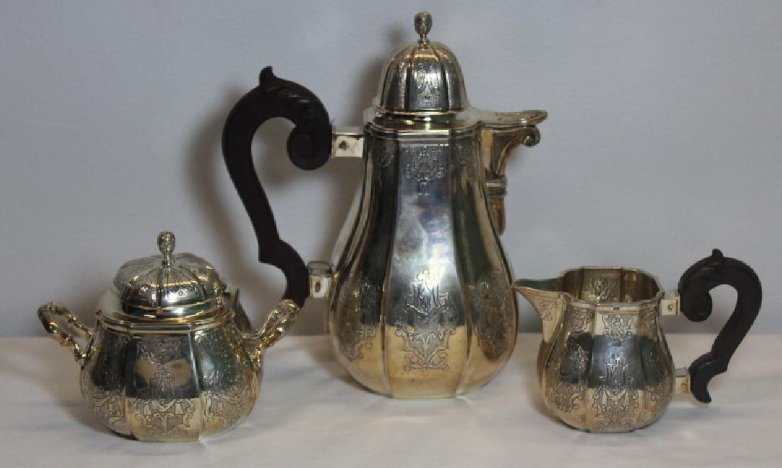SILVER. 3 Pc. Continental Silver Tea Service.