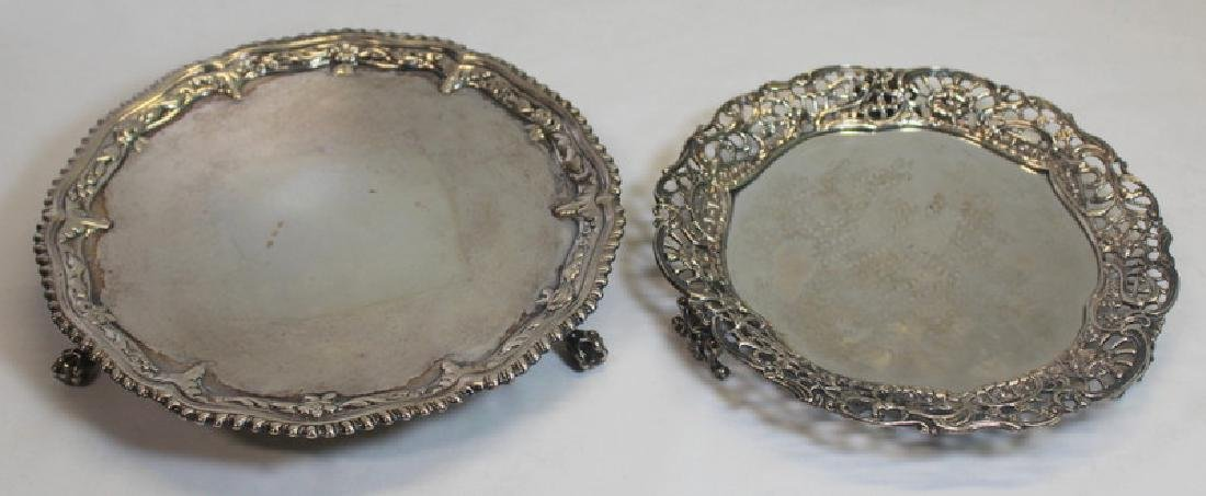 SILVER. 2 Mid 18th C English Silver Footed Salvers