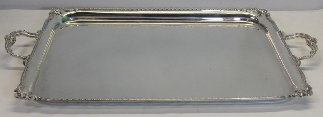 SILVER. Large Adie Bros. Ltd. English Silver Tray.