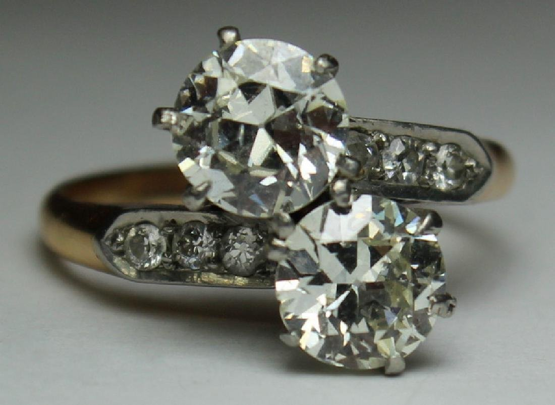 JEWELRY. GIA Cert. 14kt Gold and Diamond Ring.