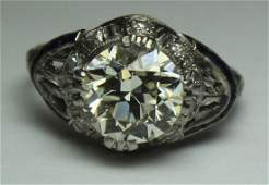 JEWELRY. GIA Cert. Art Deco Platinum, Diamond,