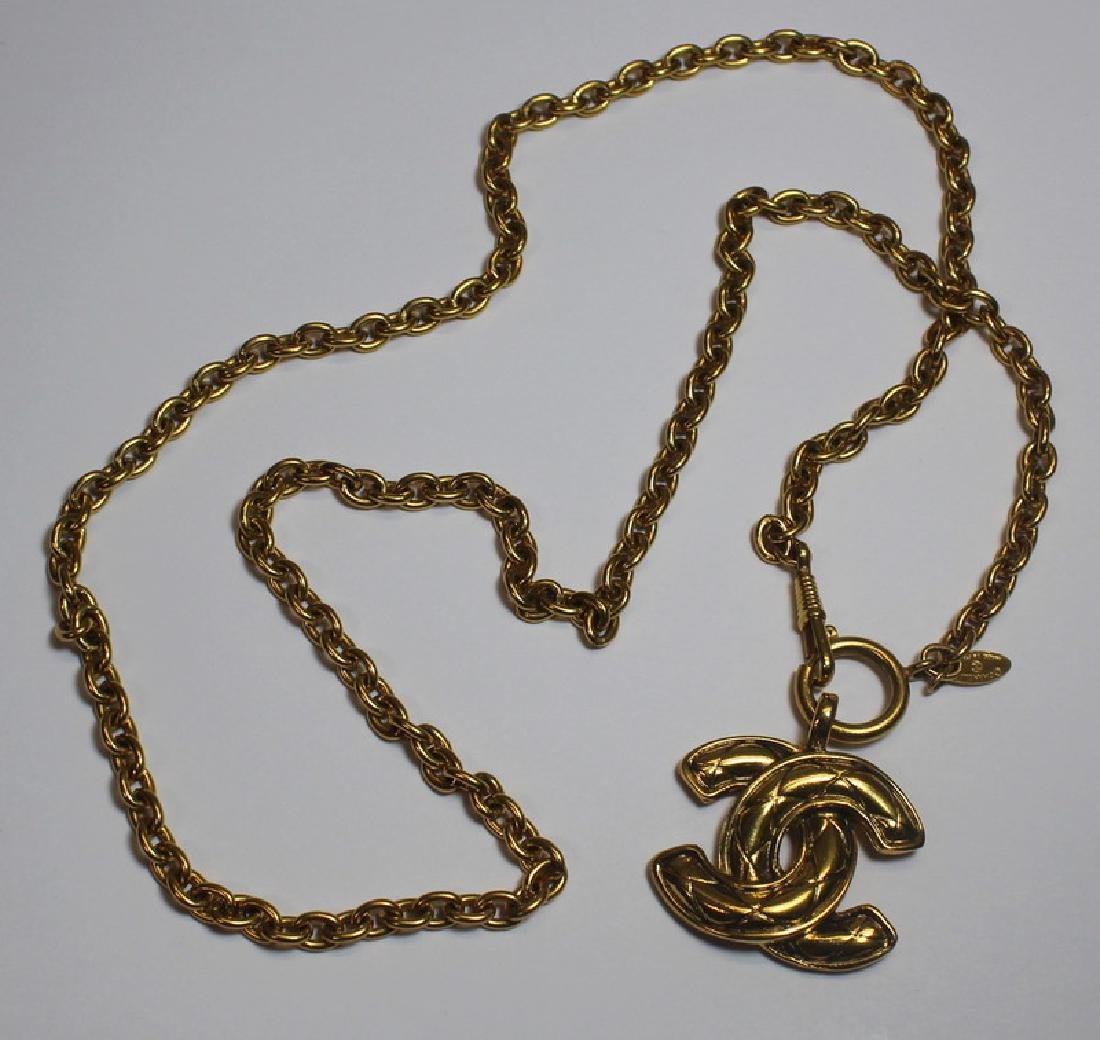 JEWELRY. Vintage Chanel Logo Necklace.