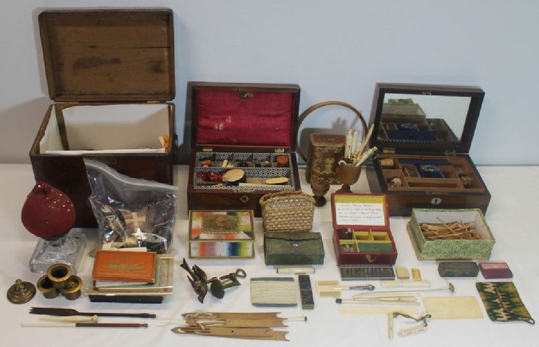 Large Collection of Sewing Boxes and Accoutrements