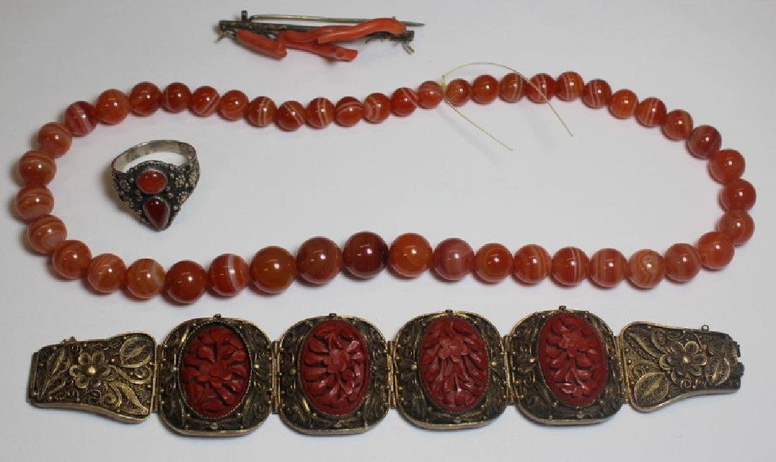 JEWELRY. Assorted Asian Jewelry and Carved Stone - 10