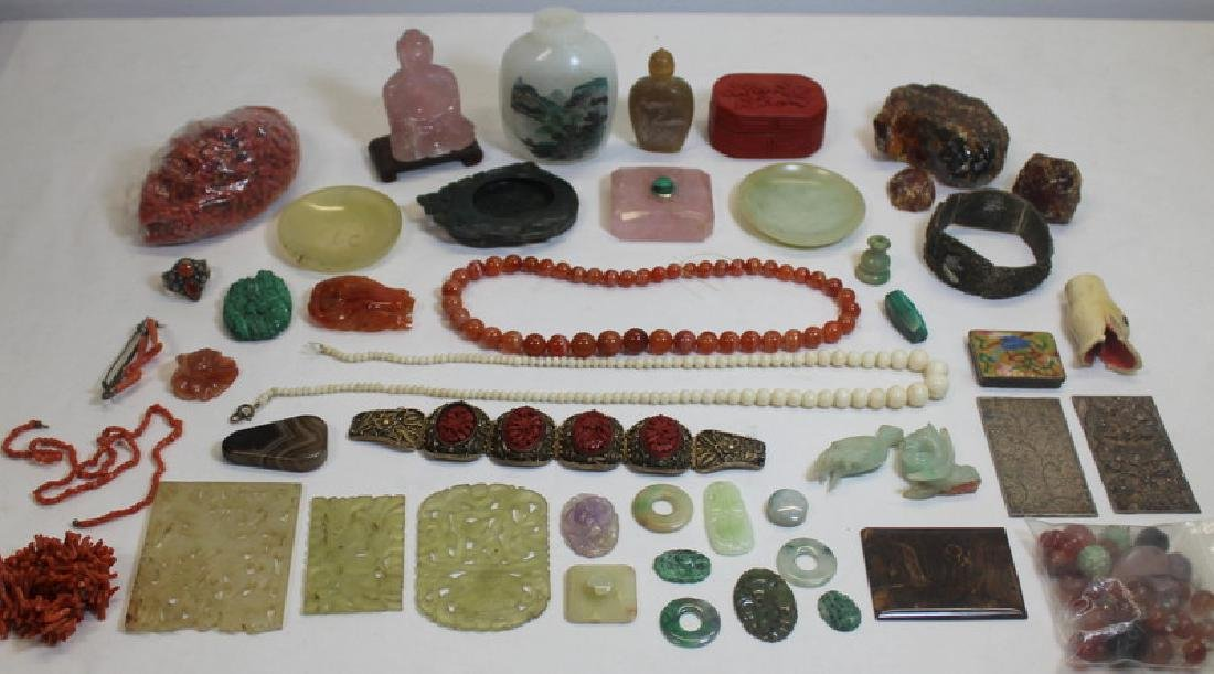 JEWELRY. Assorted Asian Jewelry and Carved Stone