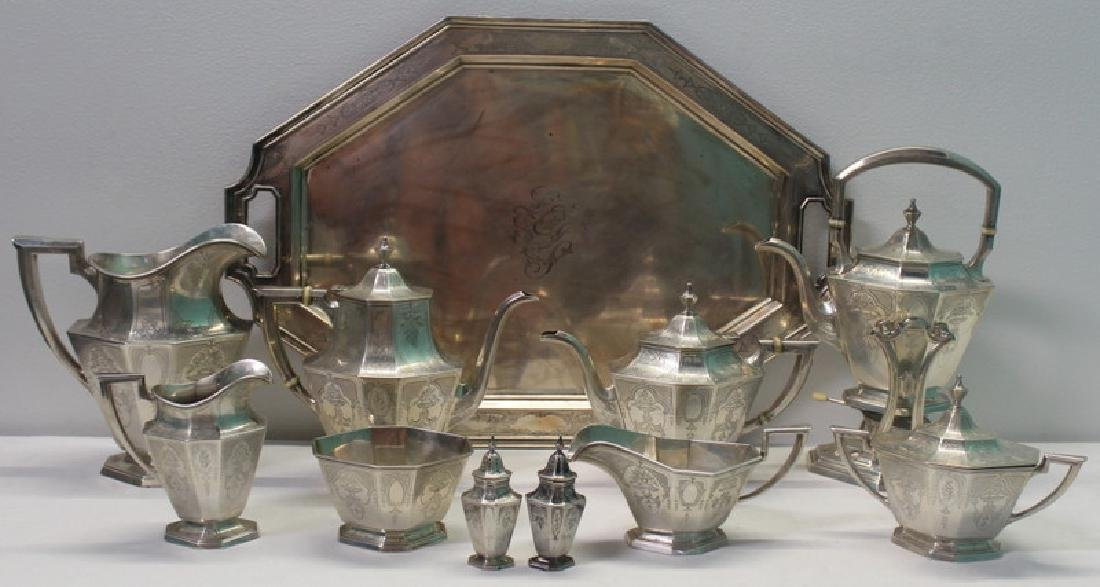 STERLING. 10 Pc. Gorham Tea Service with Tray.