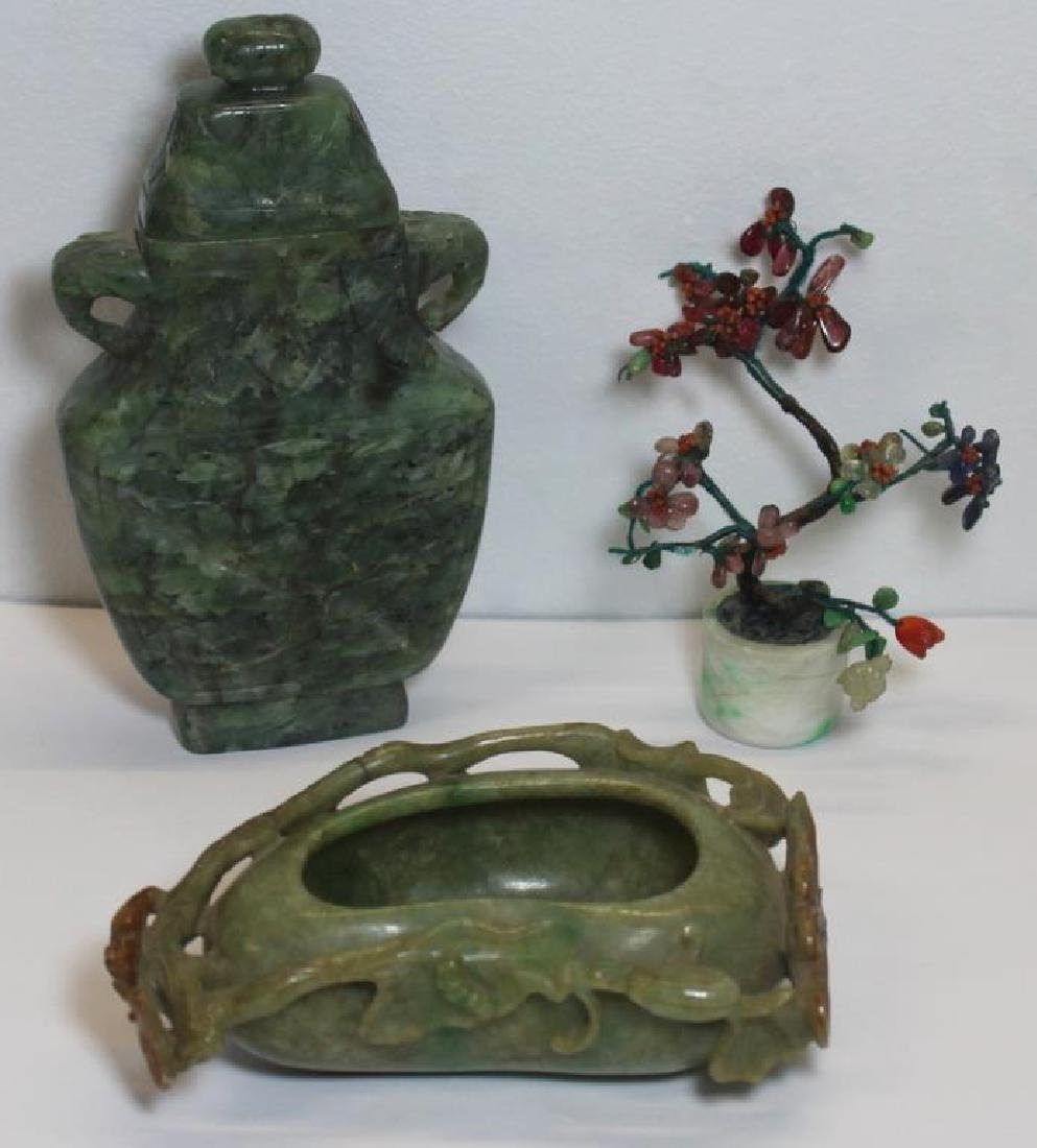 Assorted Grouping of Carved Asian Items.