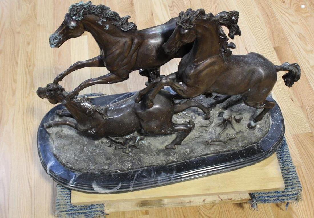 UNSIGNED. Large Bronze Sculpture of Horses.